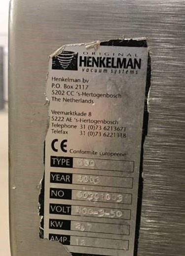 Henkelman, Type 600 Serial number 60301003